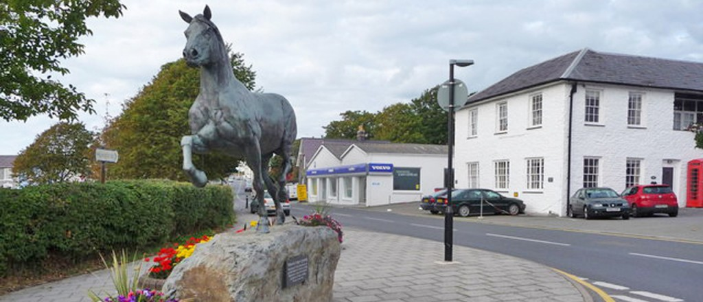 The Welsh Cob stallion bronze at Aberaeron, next to the Aquare field opposite 'The Feathers Hotel'.